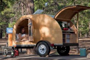 The Cowlin's teardrop trailer at Bonita Campground, Sunset Crater Volcano National Monument, Arizona