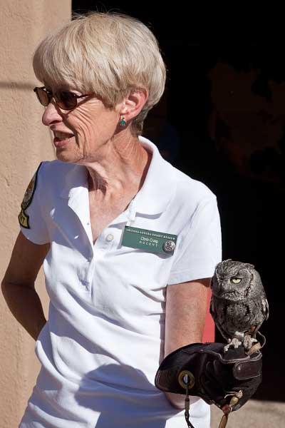 Docent with owl at the Arizona-Sonora Desert Museum, Tucson, Arizona