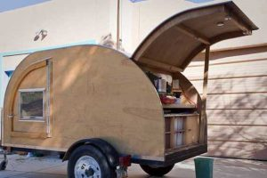 Teardrop Trailer with rear cover open