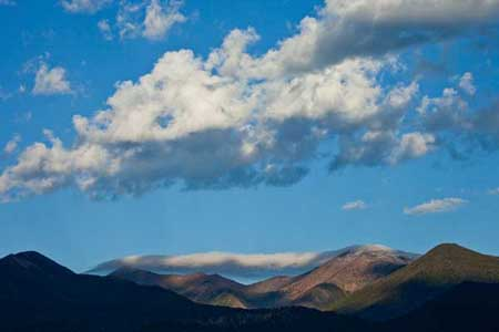 Morning clouds over the San Francisco Peaks, Flagstaff, Arizona