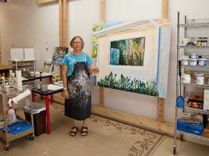 Barbara Kemp Cowlin in her studio after the Spring 2010 Road Trip