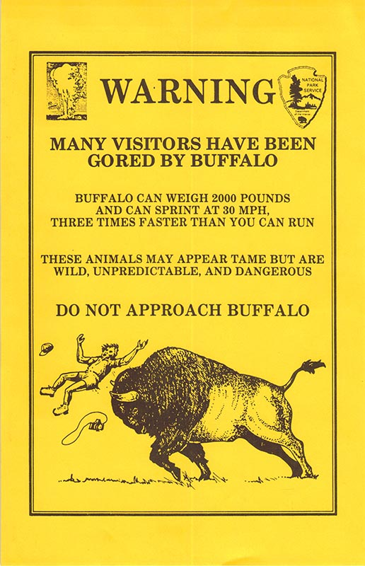 Buffalo Warning Flyer from Yellowstone National Park