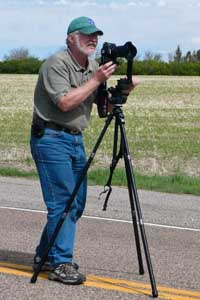 Photographer James Cowlin shooting panoramic photo on US Route 89