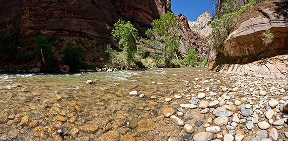 The Virgin River at the entrance to the Narrows, Zion National Park