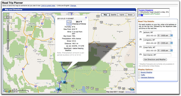 Weather Underground Trip Plan Map How to Find Up To The Minute Driving Conditions on US 89