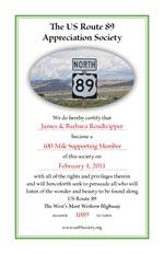 US Route 89 Appreciation Society Membership Certificate