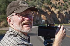 Photographer James Cowlin and his panoramic camera on US Route 89