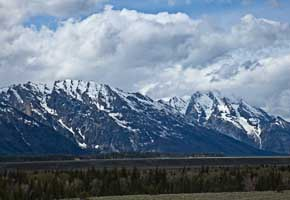 The Tetons from Glacier View Turnout on US Route 89, Wyoming