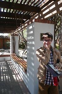 Mat posing in the dappled light of the Zen Garden, Tucson Botanical Gardens, Tucson, Arizona