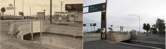 Tempe Canal Crossing, Tempe & Mesa, Arizona 1982 & 2010