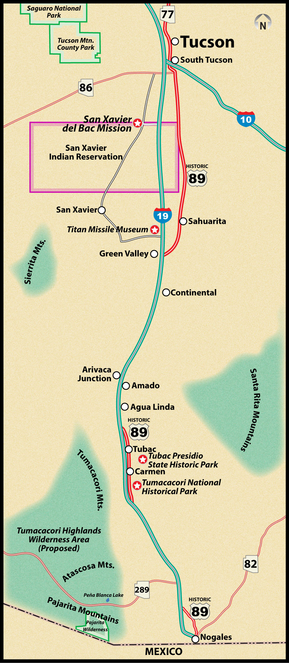 Historic US Route 89 Nogales to Tucson Road Trip Guide Map