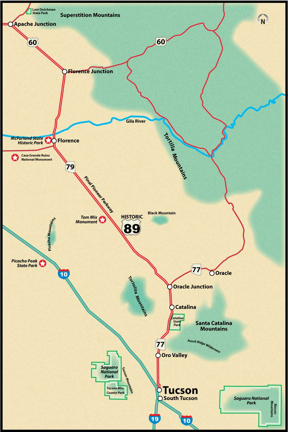 Historic US Route 89 Tucson to Apache Junction Road Trip Guide Map