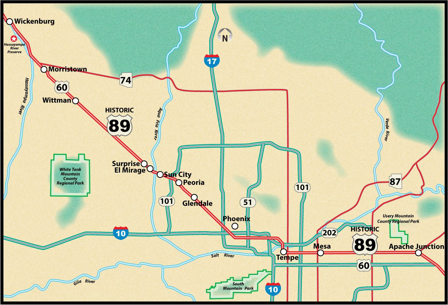 Historic US Route 89 Apache Junction to Wickenburg Road Trip Guide Map