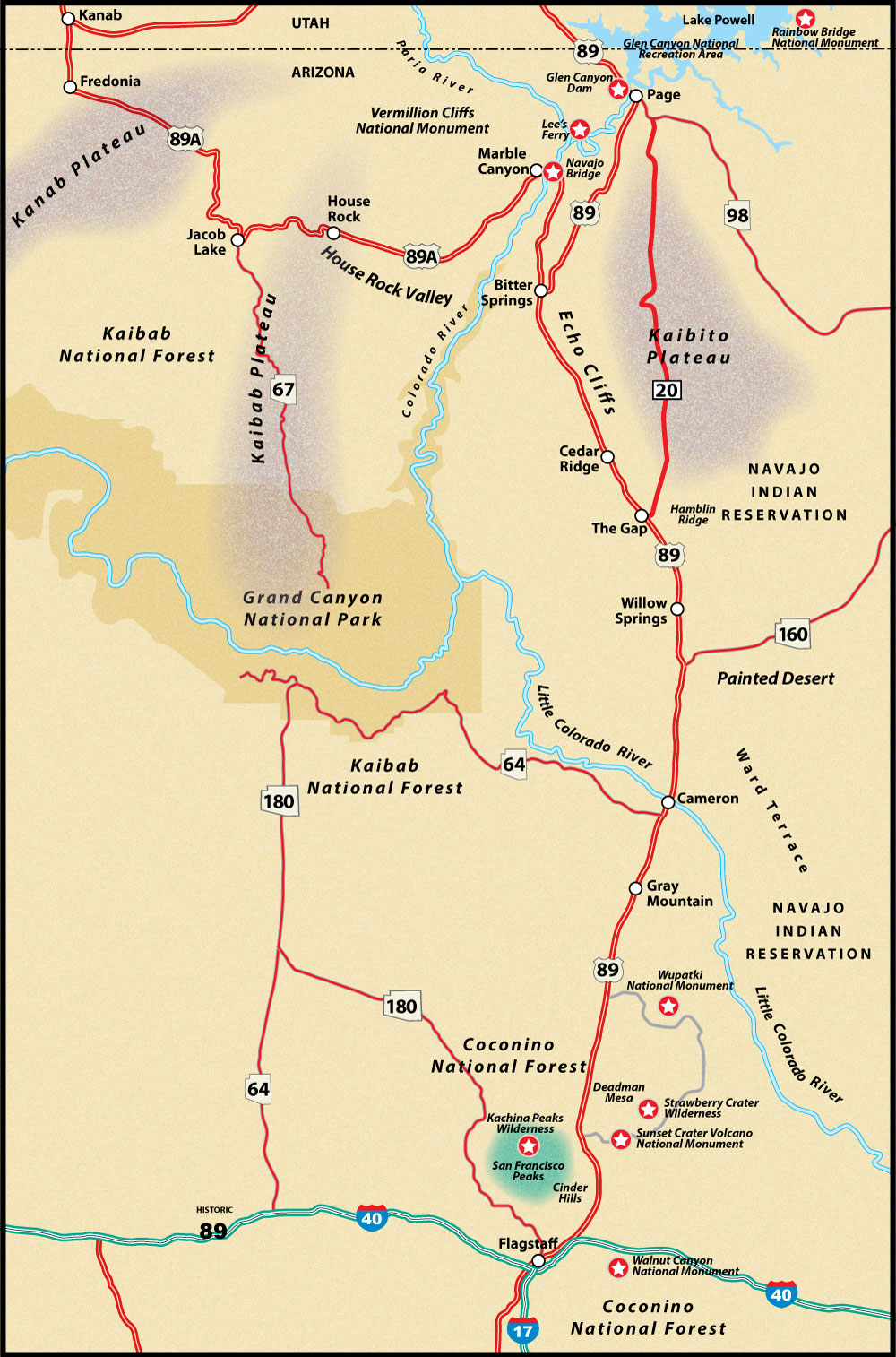 Map Of Flagstaff Arizona.Flagstaff To Page Us Route 89