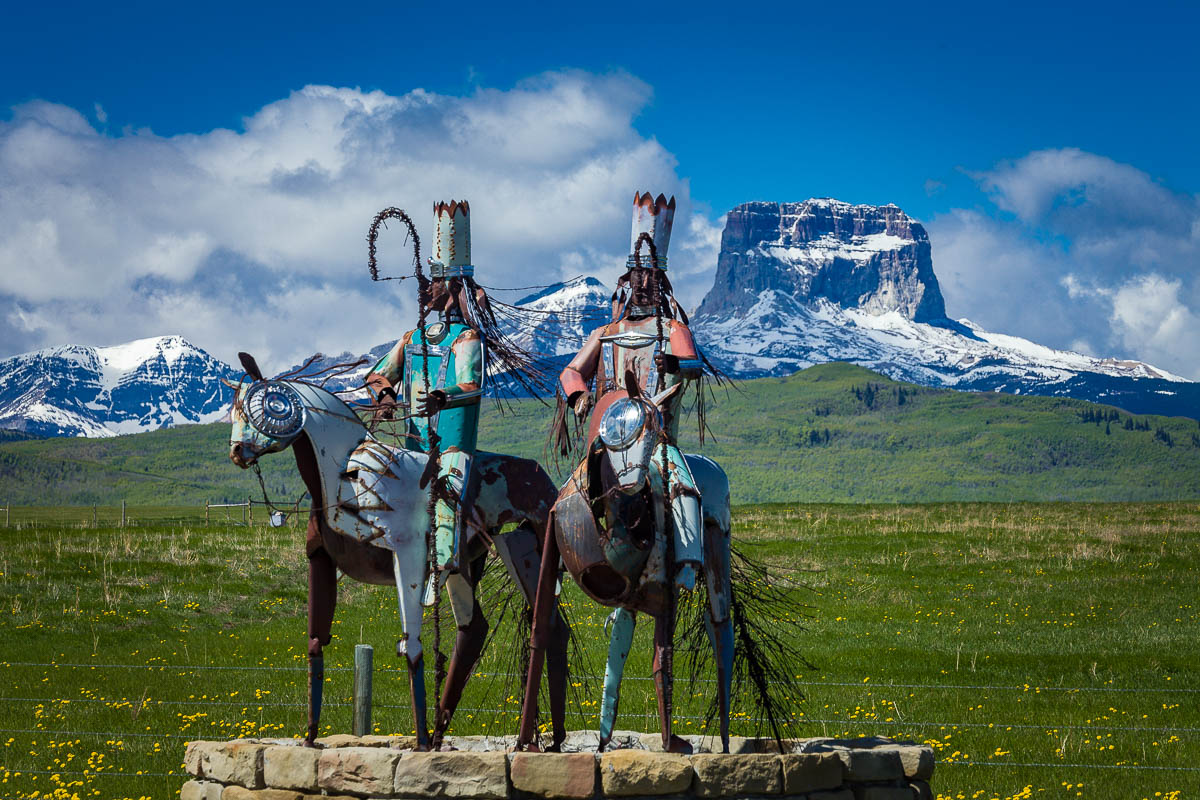 Blackfeet Sentinals & Chief Mountain, US Route 89, Montana