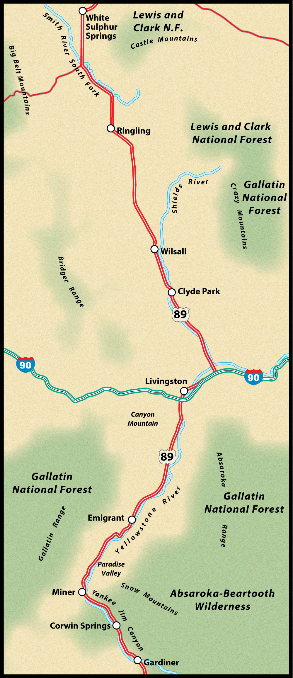 US Route 89 Gardiner to White Sulphur Springs Road Trip Guide Map