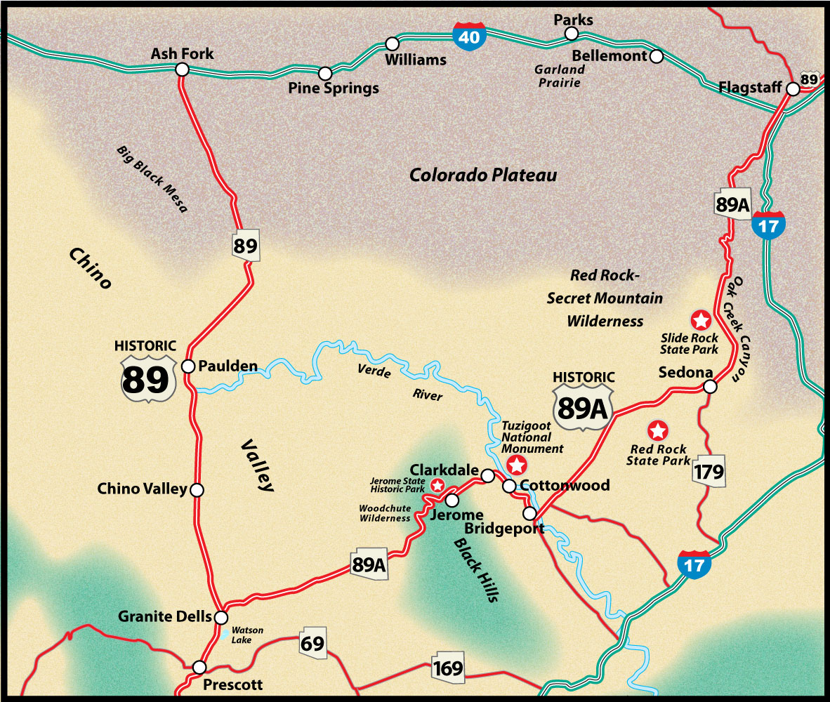 Historic Alternate US Route 89 Prescott to Flagstaff Road Trip Guide Map