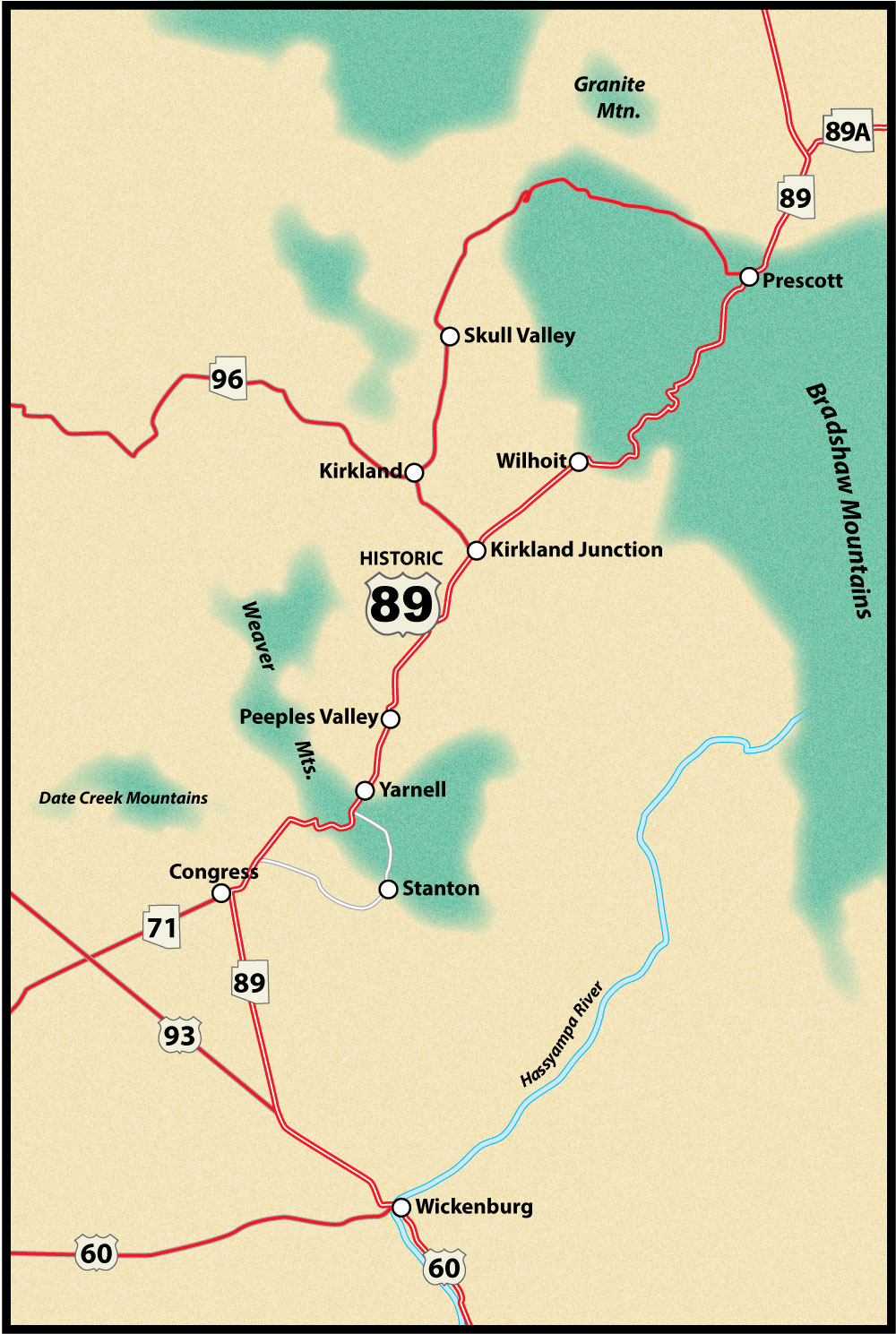 Map Of Arizona Prescott.Wickenburg To Prescott Us Route 89