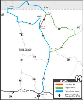 Map Of Highway 89 In Arizona.The Big Slump Us 89 Closed In Northern Arizona