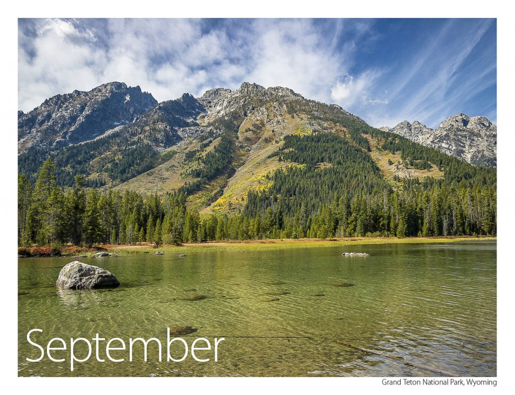 US Route 89 2019 Calendar September-Grand Teton National Park