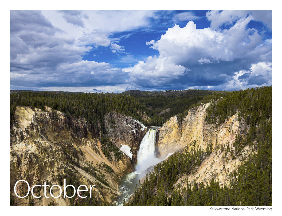 US Route 89 2019 Calendar October-Yellowstone National Park