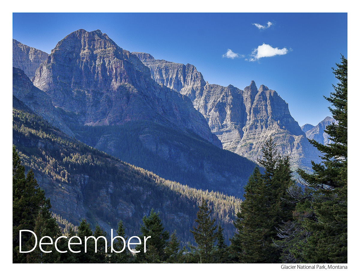 US Route 89 2019 Calendar December-Glacier National Park