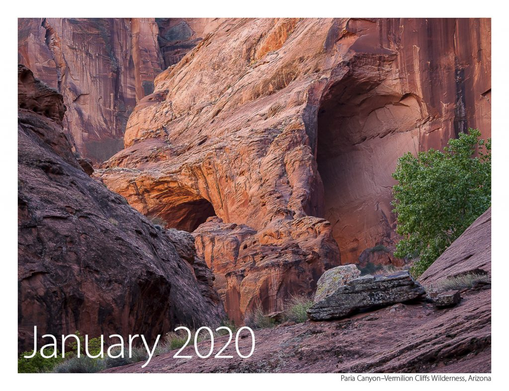 US Route 89 2019 Calendar January 2020-Paria Canyon-Vermilion Cliffs Wilderness Area