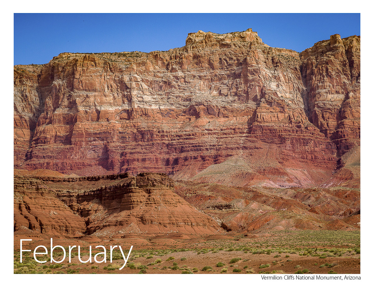 US Route 89 2019 Calendar Februaray-Vermilion Cliffs National Monument