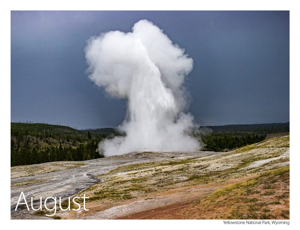 US Route 89 2019 Calendar August-Yellowstone National Park