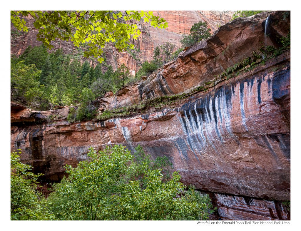 US Route 89 2021 Calendar-April-Waterfall on the Emerald Pools Trail, Zion National Park, Utah