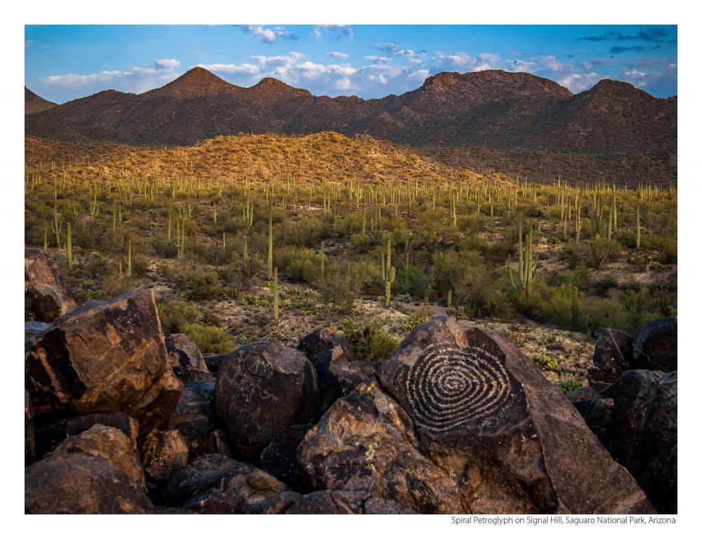 US Route 89 2021 Calendar-March-Spiral Petroglyph on Signal Hill, Saguaro National Park, Arizona