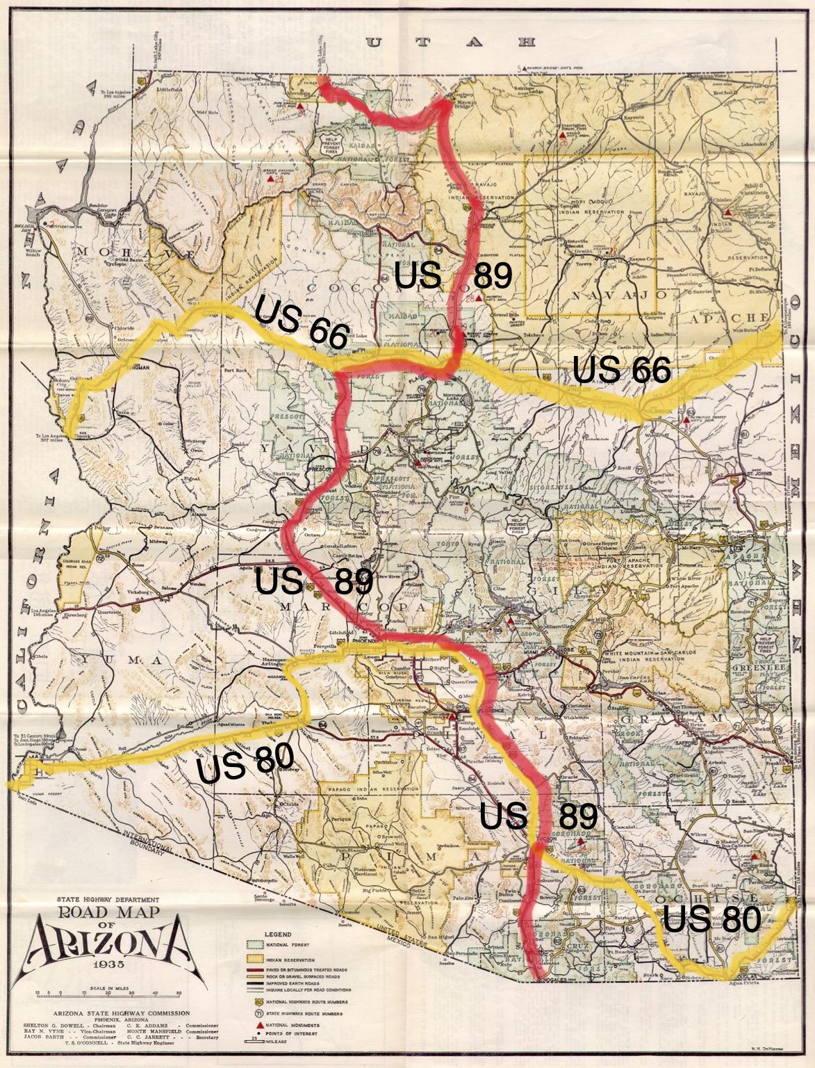 Arizona 1935 Road Map